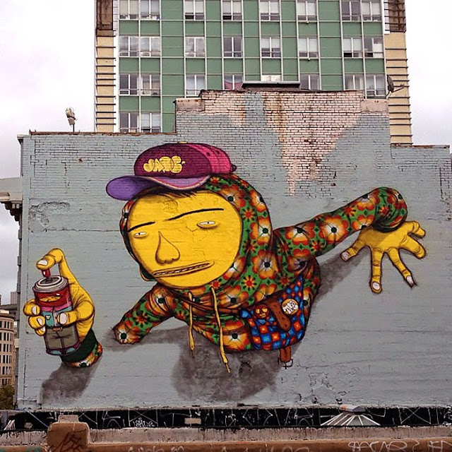 Street Art By Brazilian Duo Os Gemeos On The Streets Of San Francisco, USA.