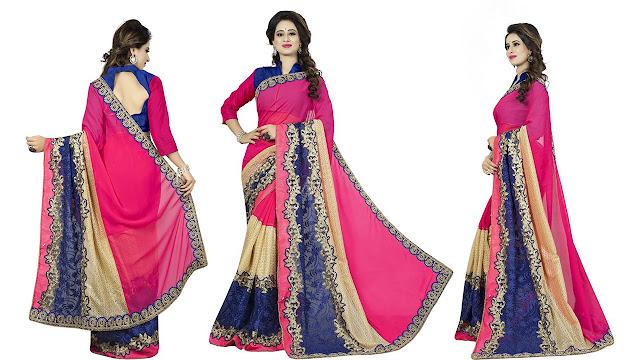 Aashvi Creation Embroidered, Self Design Bollywood Georgette, Net Saree  (Multicolor)