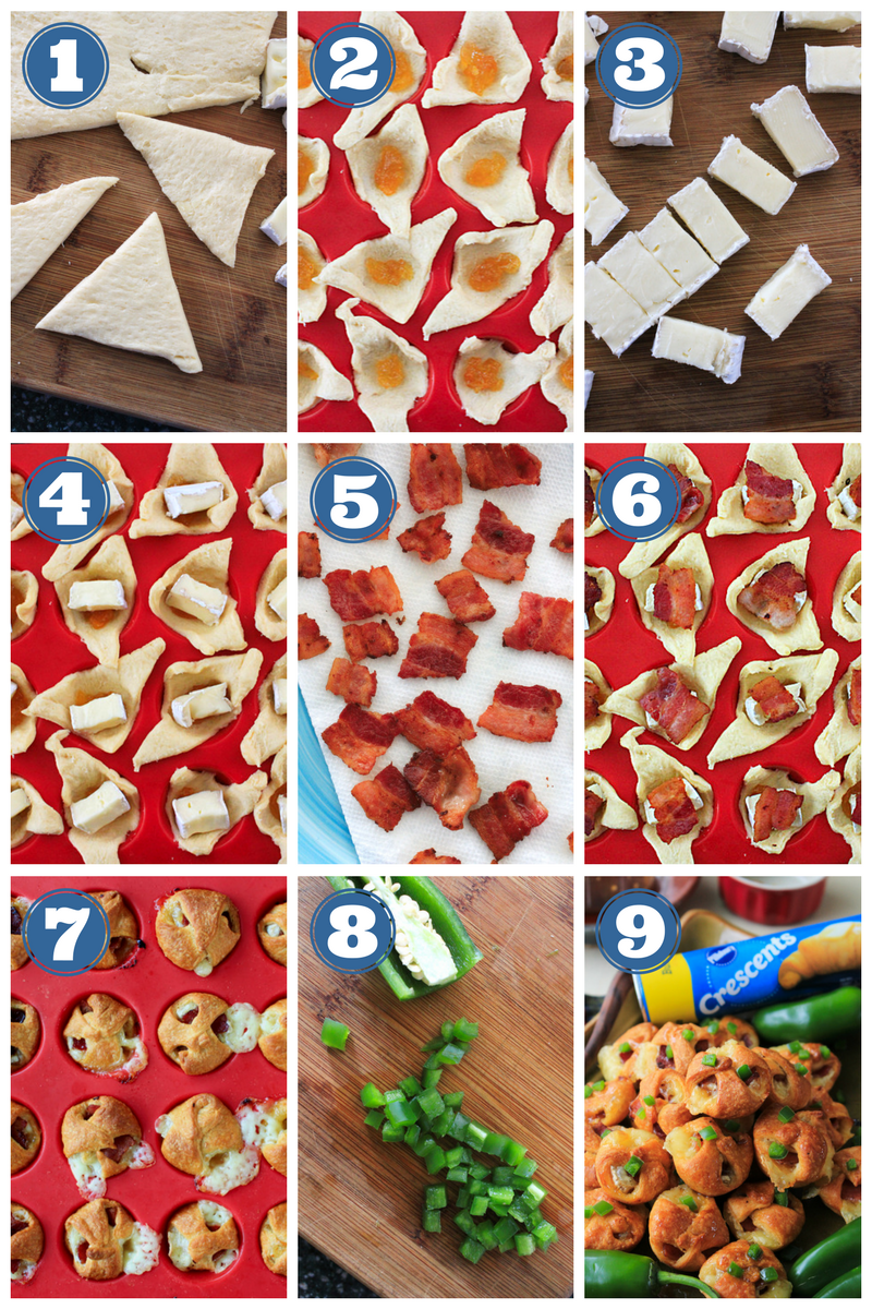 Brie, Bacon, and Apricot Jam Crescent Bites made with Pillsbury Crescent Rolls are the perfect little-bite appetizer to share with friends and family at your next holiday celebration or party. #ad #MadeAtHome #PillsburyBakeOff  #appetizer