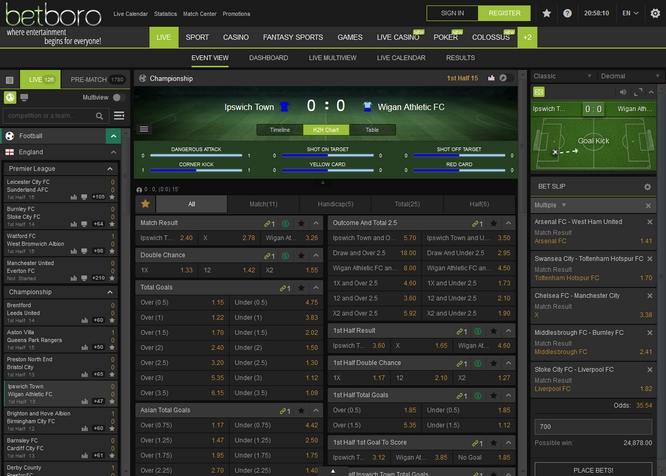 Betboro Live Betting Screen