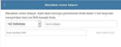 nomor telepon hp untuk verifikasi xiaomi