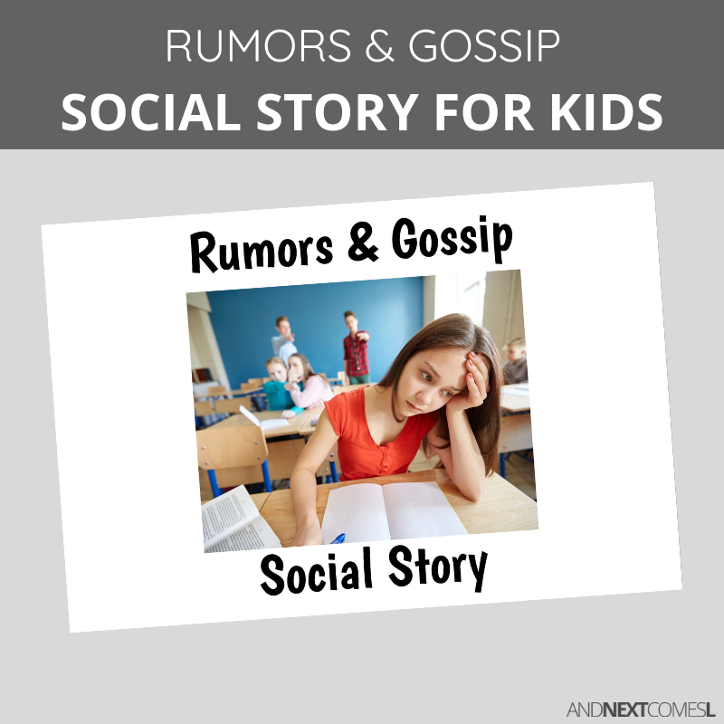 Printable social story for kids with autism about rumors and gossip