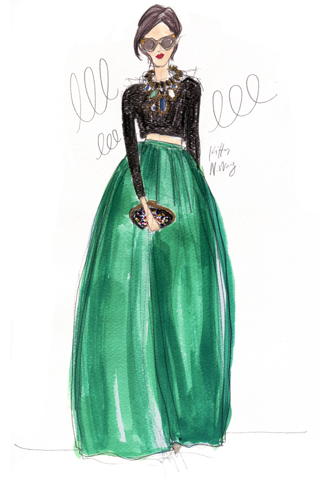 Kitty N. Wong / Green Ballroom Skirt Fashion Illustration