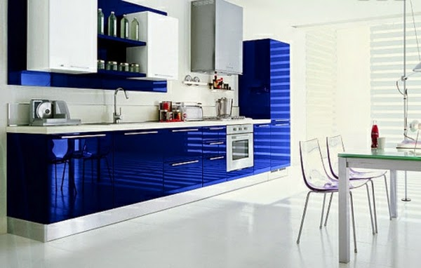 15 modern kitchen design ideas in bright color combinations for Kitchen designs blue