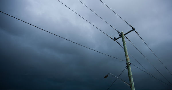 Overhead powerlines in a storm