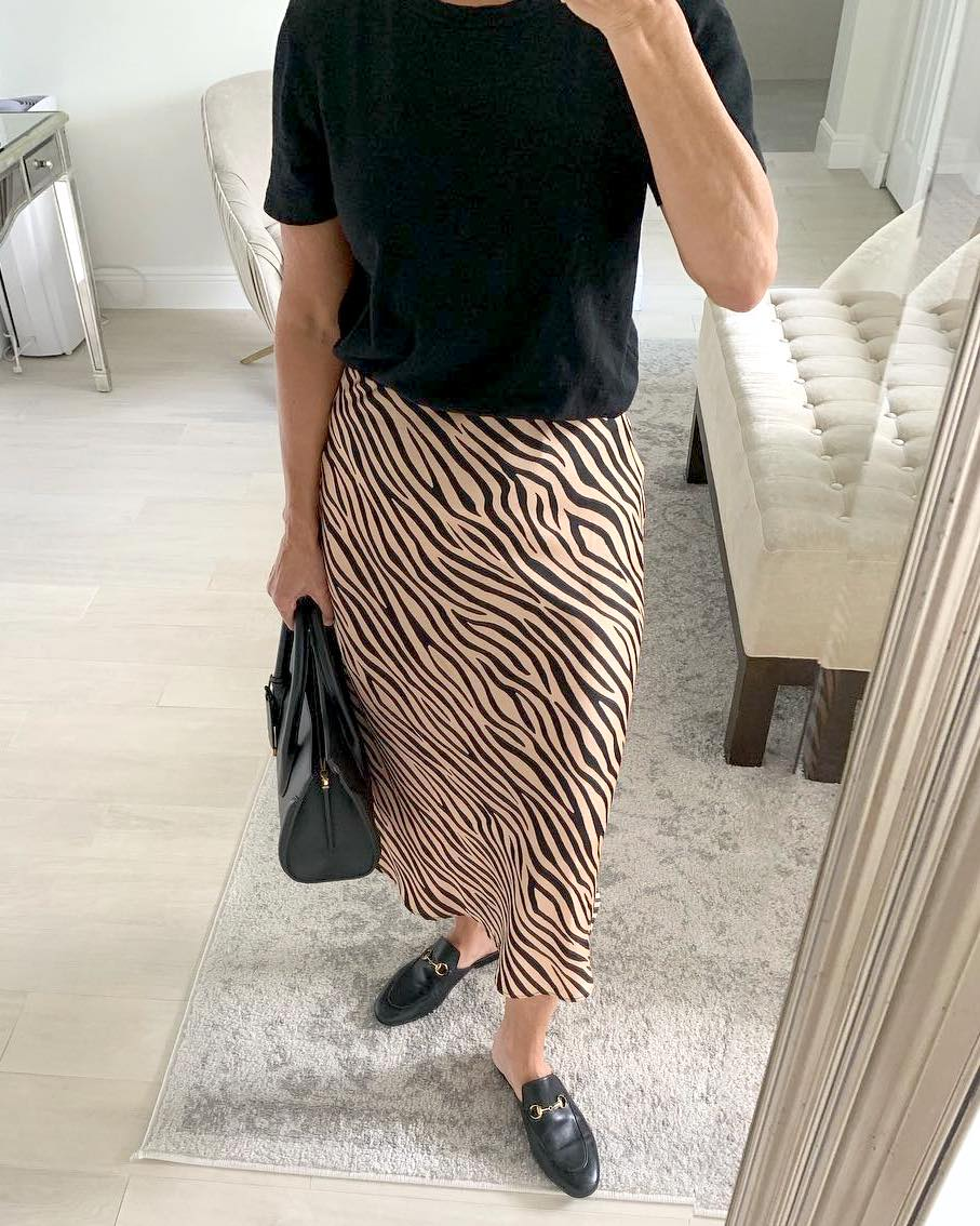 25 Cool Under-$100 Picks to Get From the Shopbop Sale — Affordable Style — Instagram Outfit: Black Tee, Tiger Print Skirt, and Mule Flats