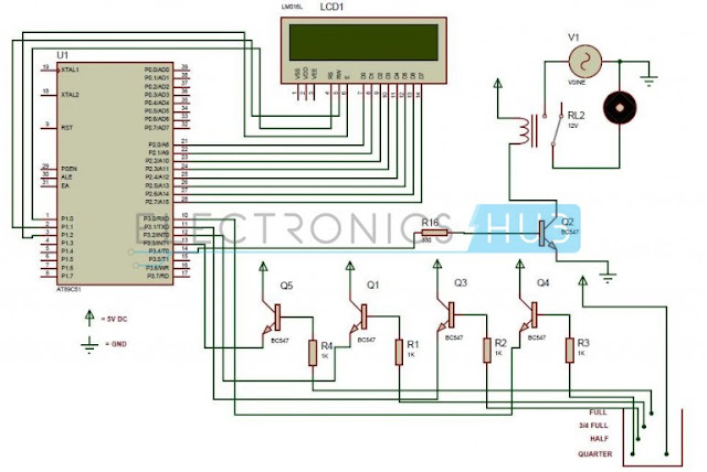 electronics projects Water Level Controller using 8051 Microcontroller