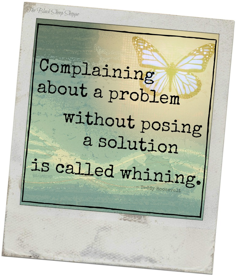 Complaining about a problem without posing a solution is called whining. - Teddy Roosevelt