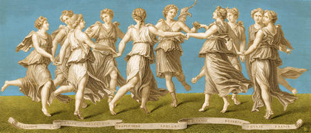 Calliope, Clio, Erato, Euterpe, Melpomene, Polyhymnia, Terpsichore, Thalia, and Urania.  The Nine Muses