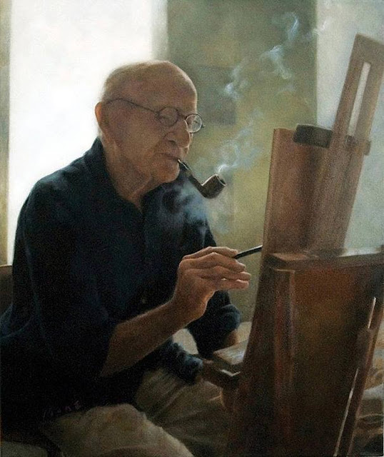 Aaron Shikler, Self Portrait, Portraits of Painters, Fine arts, portraits of painters blog, Paintings of Aaron Shikler, Painter Aaron Shikler