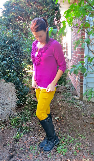 Yellow Gold Pants and Magenta Top Outfit