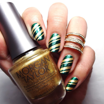 Green and Gold Striped Nails