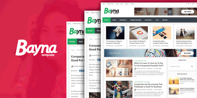Bayna Responsive Blog Style Blogger Template | Premium Download