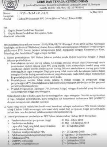 Jadwal Pelaksanaan PPGJ Tahap 1 2018