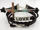 Image: Caetle(TM) Vintage Silver Cross Bracelet Infinity Love Black Leather Rope Infinite Bangle