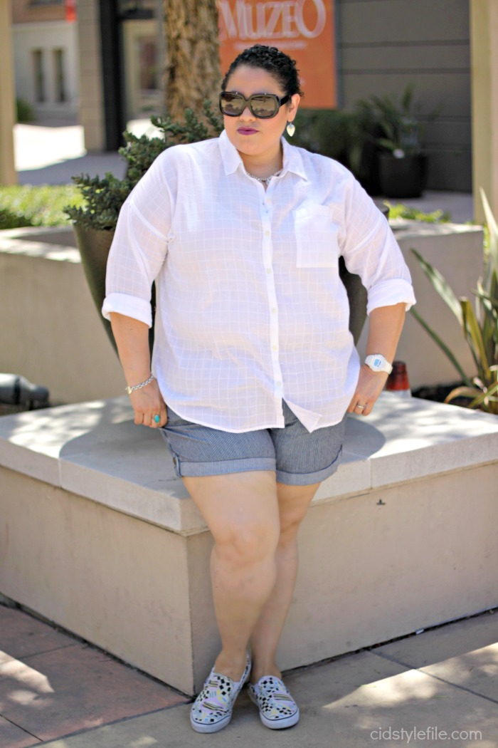 fab 40's, bloggers over 40. #40plusstyle, style over 40, all white, summer look, blogger collab, old navy, marshalls, vans, eley kishimoto, california style