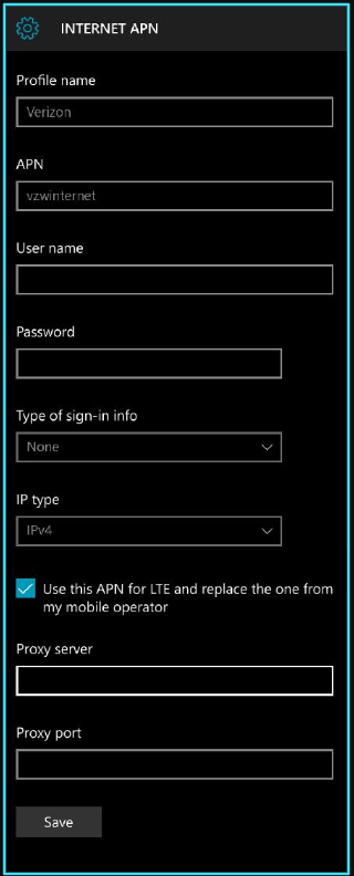 New Verizon apn settings windows phone