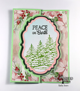 Our Daily Bread Designs Stamp Set: Peaceful Wishes, Custom Dies:  Vintage Label Flip Fold Card with Layers, Double Pierced Vintage Labels, Paper Collection: Christmas 2018
