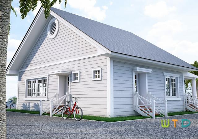 Desain bangunan villa pulau pantai lampung