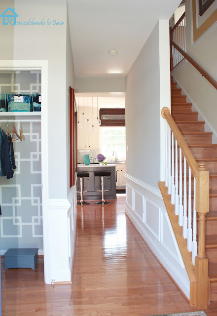 closet, kitchen and stairs