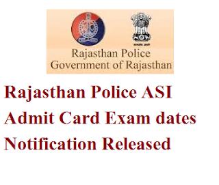 Rajasthan Police ASI Admit Card 2017