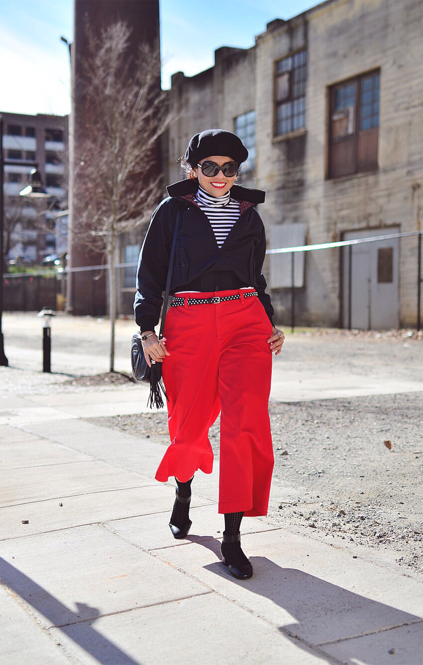 Striped turtleneck street style