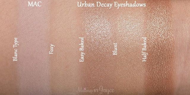 Urban Decay Half Baked Easy Baked Blunt Eyeshadow Dupe Swatches