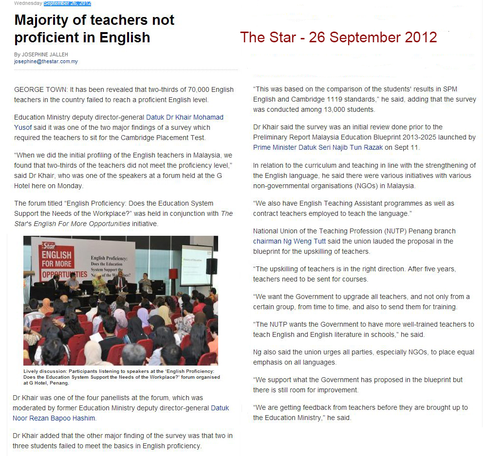 The jungle teacher an english teachers response to berita harians 1 its old news the actual number is 67 malvernweather Gallery