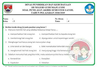 Soal UAS/PAS Kelas 3 Tema 4 Kurikulum 2013 Revisi 2018