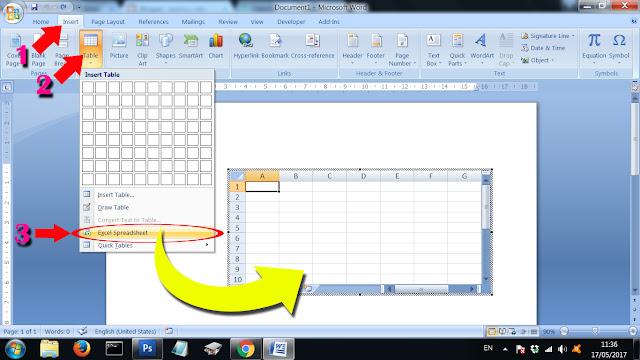 Cara memasukkan tabel excel ke word