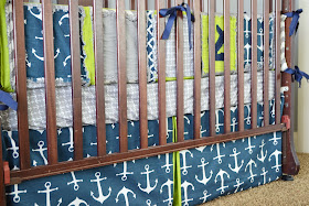Boy Nautical Crib Bedding Lime Green, Navy, and Grey