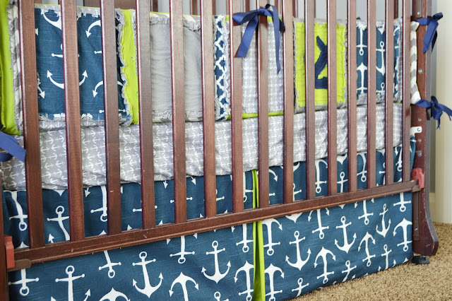 Boy Nautical Crib Bedding Lime Green, Navy, and Grey