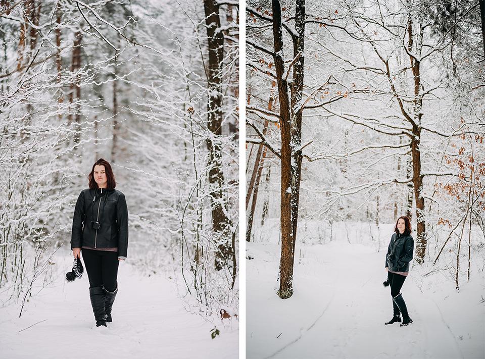 Zimowa sesja plenerowa, Fotograf Niemce, fotograf Lublin, fotograf Lubartów, sesja w lesie