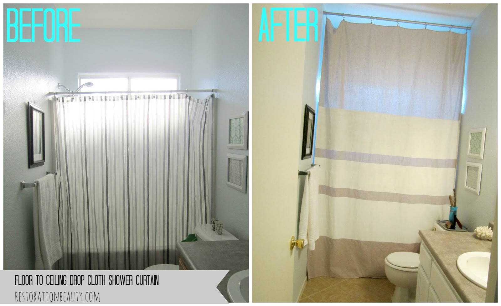 Restoration Beauty: Floor To Ceiling Drop Cloth Shower Curtain