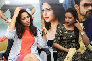 Actress Suma in Black Salwar Suit and Anusuya in orange Dress at winner movie press meet part 2 February 2017 (14).JPG