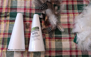 Craft supplies for feather tree. DIY