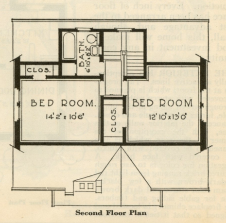 catalog image of layout of second floor of Sears Dover 1930