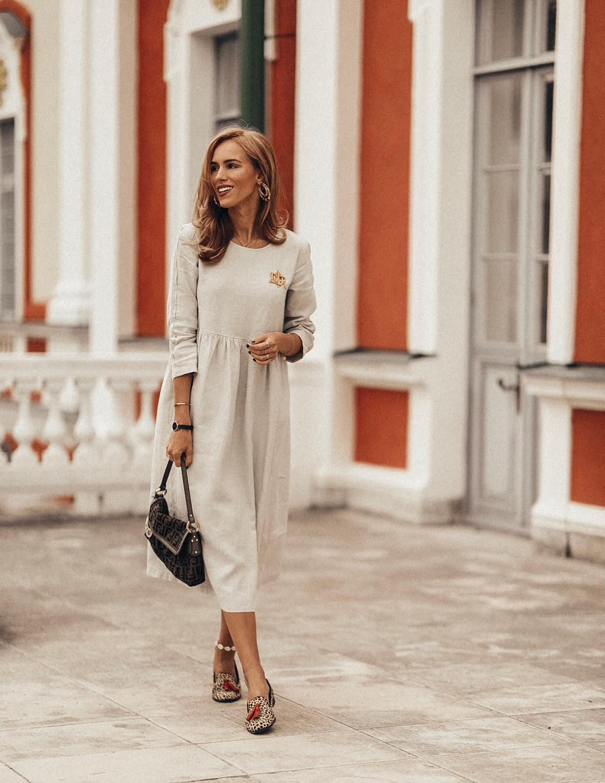 linen midi dress summer street style outfit