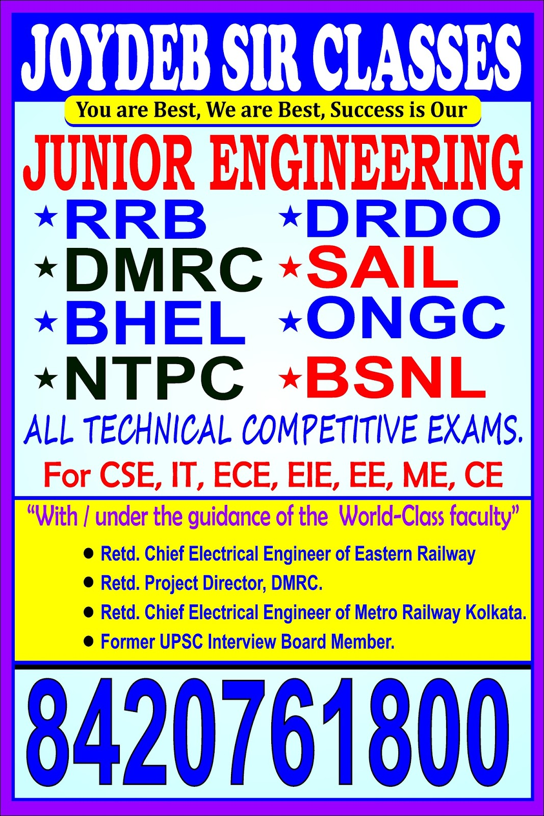 RRB SSE TECHNICAL JUNIOR ENGINEER COACHING PH 8420761800