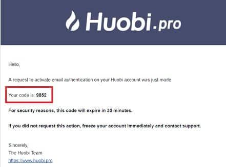 validación del teléfono o correo electrónico en huobi