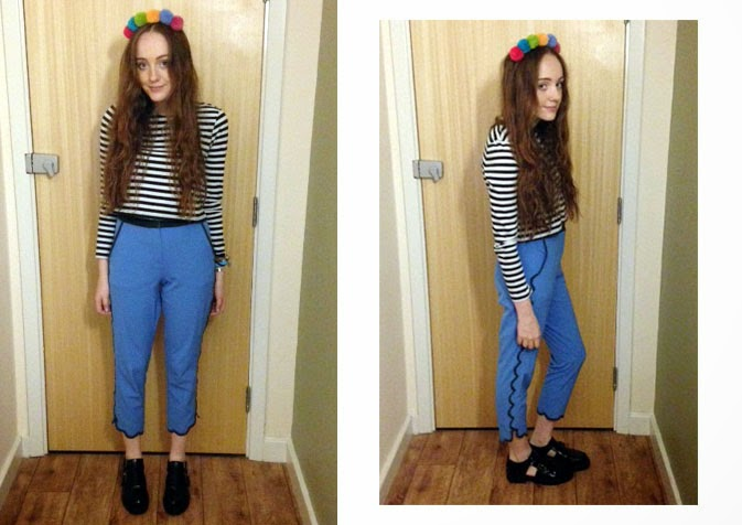 uni OOTD; ASOS pom pom headband, striped long sleeved crop top, topshop scalloped edge trousers and primark monk shoes