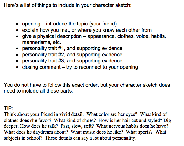 writing a character sketch examples