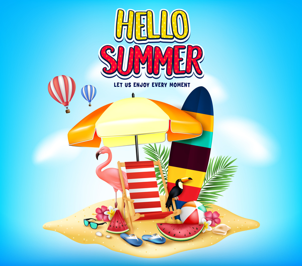 Summer Islands travel vector background free vector