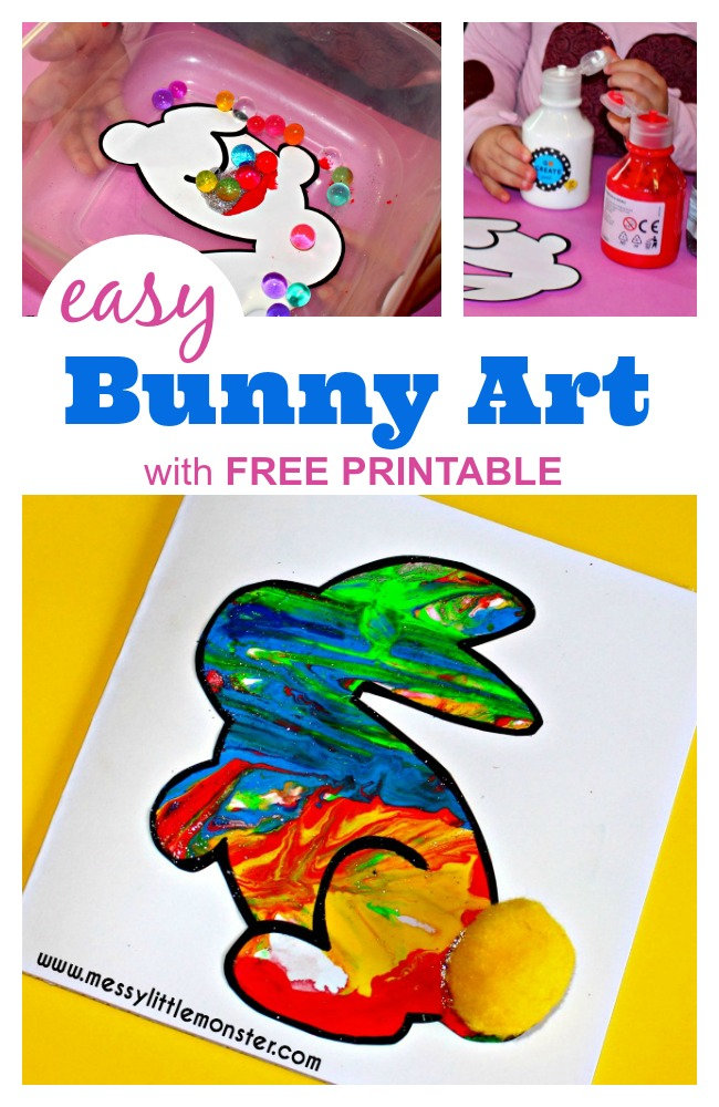 This bunny craft for kids comes with a free printable bunny template and is made using a fun painting technique that toddlers and preschoolers will love. It makes a great easter craft for kids or could be made as part of a Spring project.