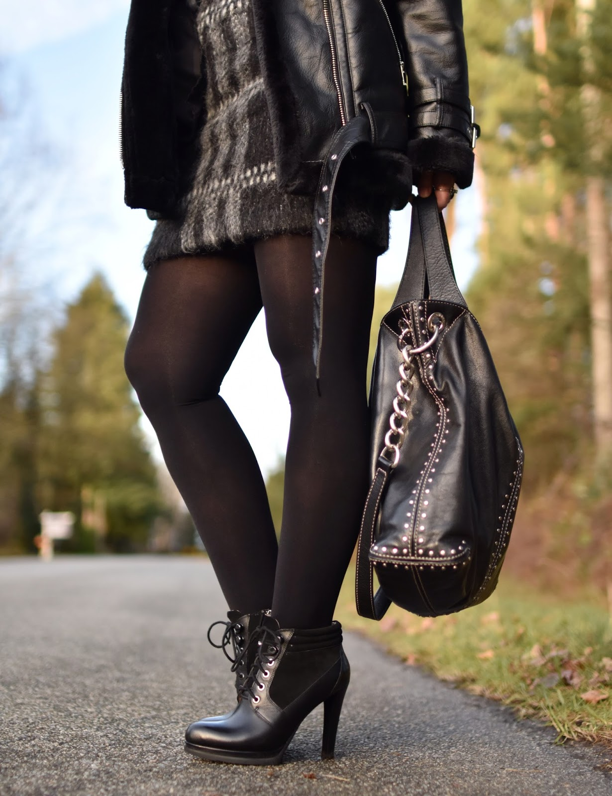 Monika Faulkner outfit inspiration - plaid mohair miniskirt, opaque tights, lace-up booties, moto-inspired coat, MK bag