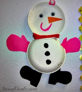 snowmen paper plate craft for kids