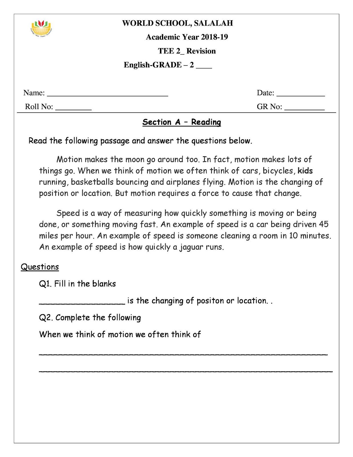 medium resolution of Revision Worksheets for Grade 2 as on 12-05-2019   WORLD SCHOOL OMAN