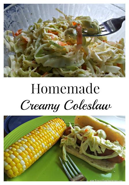 Homemade (Easy!) Creamy Coleslaw  www.HensleFarmAdventures.com