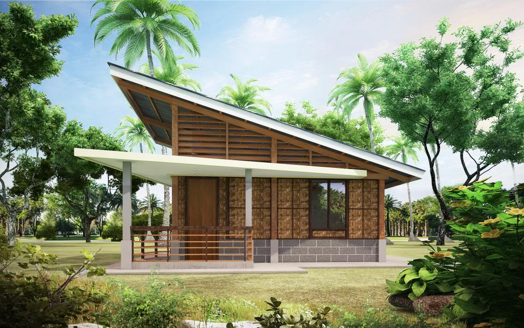 FRONTVIEW - View Simple Small House Design Bamboo PNG