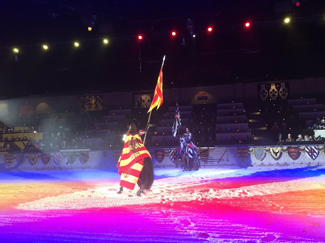 Our knight makes an entrance at Medieval Times.